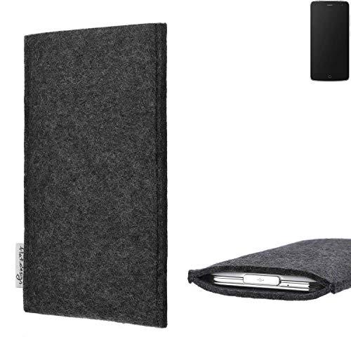flat.design Handy Hülle Porto für Alcatel Flash vegane Handytasche Filz Tasche Schutz Case fair dunkelgrau
