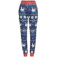 Kinlene Mujeres de Navidad de impresión de Navidad cordón Pantalones Casuales