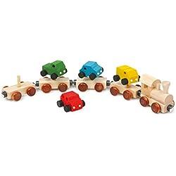 Vagones de tren con 4 imanes y 4 coches - juegos de madera - Legler