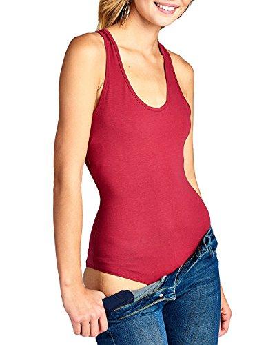 Hollywood Star Fashion Body da Donna Senza Maniche, con Scollo Rotondo, Taglio Vogatore Raspberry