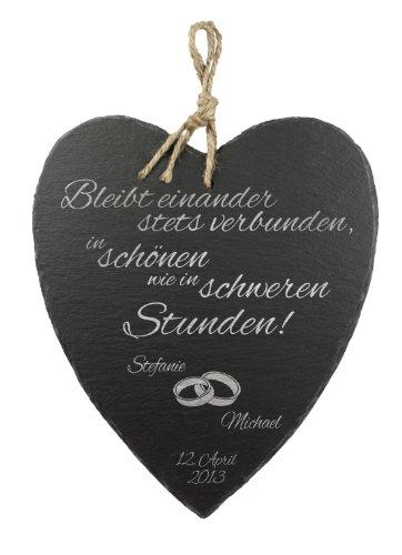 Casa Vivente - Schieferherz mit Gravur zur Hochzeit - Eheringe - Personalisiert mit Namen und Datum - romantisches und originelles Hochzeitsgeschenk - mit Juteband zum Aufhängen - 23 x 27 x 0,6 cm