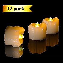 Homemory 12PCS ámbar amarillo Realista Dripping LED luces de té con pilas que parpadea sin llama falsas velas eléctricas para la boda, fiesta, decoración del hogar y la celebración del Festival