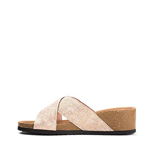 Ideal Shoes Mules Compensées Nacrées Effet Reptile Feliana Rose
