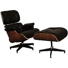 Silla de estilo otomano, de salón, de piel italiana, con asiento reclinable