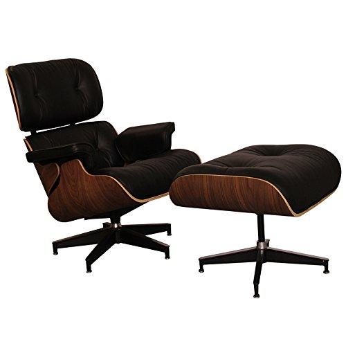 STYLE INTERIOR FURNITURE Vera Pelle Italiana Lounge Sedia con ottomano Poltrona reclinabile