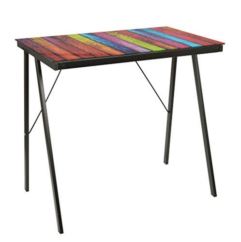 h Bürotisch Glastisch Computertisch mit Stripes Design Schwarz mit 6 mm Glasplatte ()
