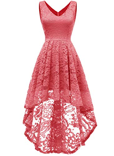 MuaDress 6666 Damen Ärmellose Hi-Lo Lace Formel Brautjungfernkleid Cocktail Party Kleid mit V-Ausschnitt Korallle L -