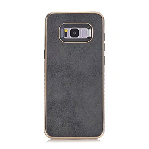 EKINHUI Case Cover Dual Layer PC + TPU Eletroplating PC Retro Crazy Pferd Leder Skin Shell Abdeckung Fall für Samsung Galaxy S8 Plus ( Color : Gray ) Black