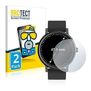 BROTECT 2X Entspiegelungs-Schutzfolie kompatibel mit Armbanduhren (Kreisrund, Durchmesser: 47 mm) Matt, Anti-Reflex, Anti-Fingerprint
