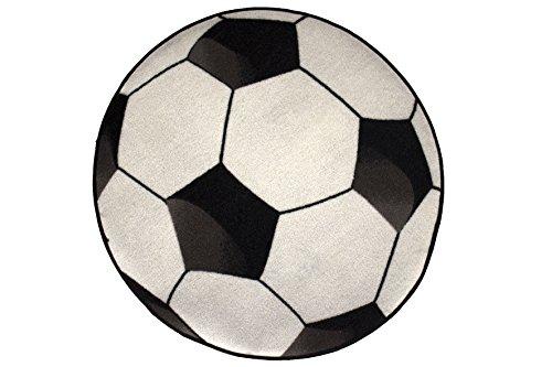 Bavaria Home Style Collection - Fussball Teppich Fussballteppich Kinderteppich Spielteppich Fußballteppich ca. 80 cm Rund