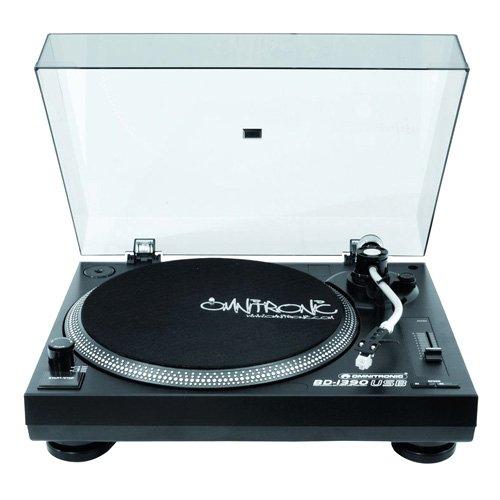 Omnitronic BD-1390 USB-Plattenspieler sw | Riemengetriebener DJ-Plattenspieler mit USB-Schnittstelle und Recording-Software, schwarz | Integrierter USB-Port und Phono-Vorverstärker für die hochwertige und komfortable Digitalisierung von analogen Vinyl-Schallplatten