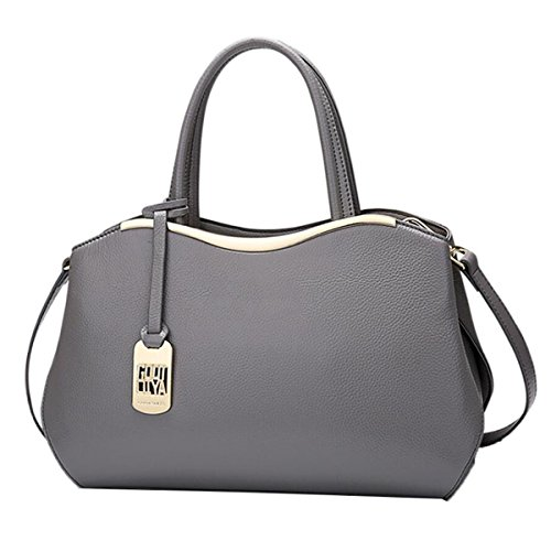 WU Zhi Dame Leather Fashion New Wild Schultertasche Handtasche Messenger Bag Grey