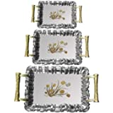 Steel Tray Rakhi Special Deal Discounted Exclusive Designer High Quality Royal Metal Finish Multipurpose Stainless Steel Serving Trays/Platter With Golden Handle (3 Pcs) For Home/Gift/Bhabhi/Sister