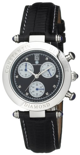 Constantin Durmont Women's Quartz Watch Visage Diamond Black VisBK-D with Leather Strap