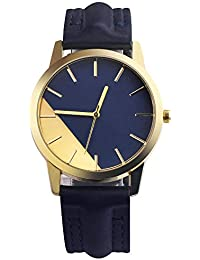 Reloj De Cuarzo para Mujer Reloj De Cuero Decorativo para Mujer Simple  Fahion Casual Azul Marino 1fcaf770df7d