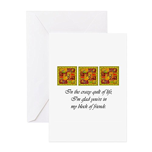 CafePress–Friends–Crazy Quilt–Grußkarte, Note Karte, Geburtstagskarte, innen blanko, matt Quilten Geburtstag Karten