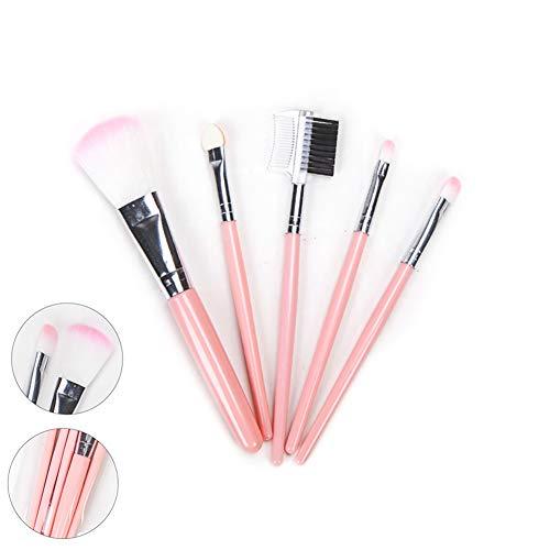 5pcs Oeil Pinceaux Cosmétiques Poudre Pinceau Ombre Poudre Blush maquillage essentiels maquillage synthétiques de qualité supérieure pour fond de teint inceaux de maquillage (Rose)