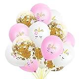 15 Pcs Ballons 12Inch Latex Licorne Rose Or Confettis Ballons Pour Les Fournitures De FêTe Graduation Mariage Baby Shower DéCorations D'Anniversaire