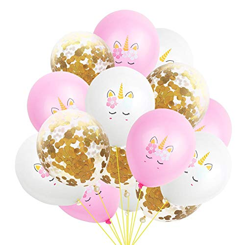 circulor 15 PCS Einhorn Party Supplies, Dekorationen Mit Riesigen Einhorn-Ballons, Latex Party Ballons Und Papierblumen Für Mädchen Junge Kinder Erwachsene Geburtstag Party Hochzeitsgeschenk (Party Ballons Riesige)
