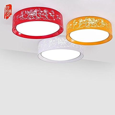 LYXG Stanza dei bambini lampada da soffitto luci cartoon boy camera lampada luci ragazze creative camera da letto ma incisione lampade LED ( diametro 500mm)40 , W rosso