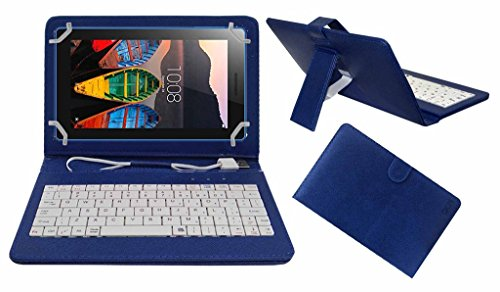 Acm Premium Usb Keyboard Case For Lenovo Tab 3 7 Essential Tablet Cover Stand With Free Micro Usb Otg – Blue
