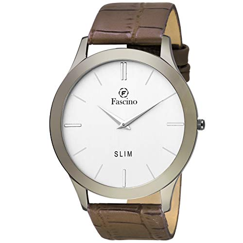 Fascino Men's Watches - Analog Round Silver Dial Slim Watch with Leather Belt | FCW 1053-GR
