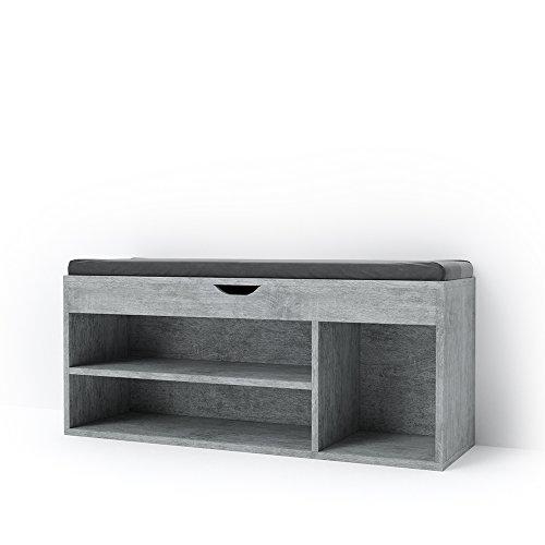 VICCO Schuhschrank Schuhbank - Schuhe Stiefelfach Schrank Schuhregal Bank Regal Auflage Sitzbank - 104x48x32cm (BxHxT) - inkl. Sitzauflage (beton) (Schrank Bank)