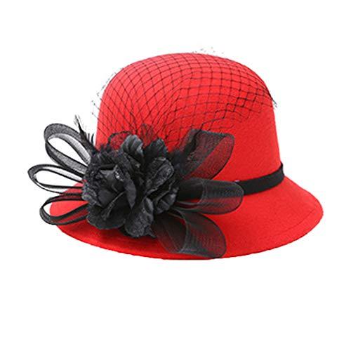 GOUNURE Frauen Wollfilz Eimer Hüte Cloche Derby Bowler Cap Damenmode Fedora Hüte Trilby Hut mit Bowknot -
