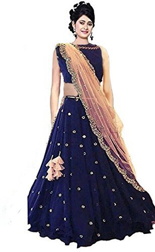 Yeoja Creation Women's Taffeta Semi-Stitched Lehenga Choli ( Rimzin07,Blue,Free Size)