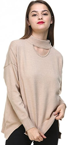 Vogueearth Fashion Hot Femmes Ladies Loose Fit Knit Jumper Sweater Chandail Tricots Pullover Top Longue Manche Kaki