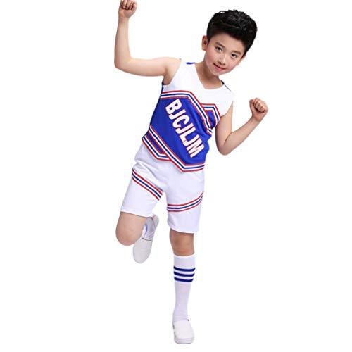 Amosfun Cheerleader Uniform Kinder Party Kostüm mit 120CM Socken Jungen Karneval Fasching Set (Ohne Pompoms) (Cheerleading Uniformen Kostüm)