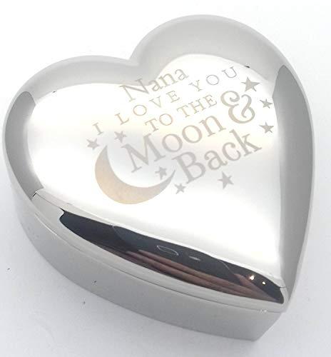 Nana I Love You To The Moon & Back Silber Finish Schmuckkästchen Geschenk Geschenke Presents Ideen für Geburtstag Weihnachten Muttertag