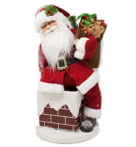 Joy christmas babbo natale con musica e movimento 45 cm sul camino babbo natale che si muove