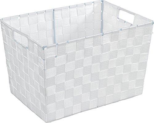 WENKO 19883100 Aufbewahrungskorb Adria M Weiß - Badkorb, 100% Polypropylen, 35 x 22 x 25.5 cm, Weiß