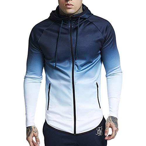 Chándal para Hombre,Hombres de Cambio Gradual Jersey de Manga Larga Capucha Sudadera Tops Blusa Chaqueta Abrigo Outwear