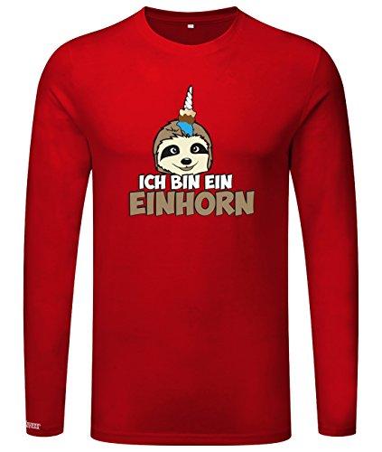 Ich bin ein Einhorn - Faultier - Herren Langarmshirt Rot