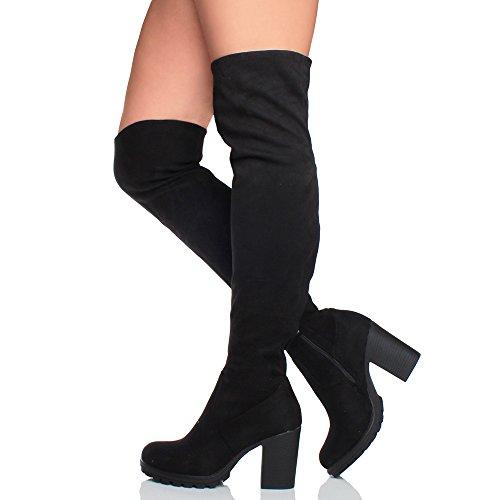 Ajvani Femmes haute talon carré élastique au-dessus du genou bottes cuissardes pointure Noir daim