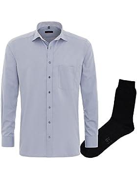 ETERNA Herrenhemd Modern Fit grau + 1 Paar hochwertige Socken, Bundle