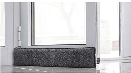 Emanhu Trading Schurwoll-Zugluftstopper Fenster 100-150 cm/Schurwoll-Zugluftstopper Tür 80-100 cm selbstklebendes Klettband (Anthrazit, Tür 80 cm)
