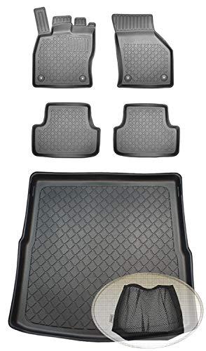 ZentimeX Z393400 Set Kofferraumwanne Gummifußmatten + Klettnetztasche (Laderaumwanne, Kofferraummatte, Automatten)