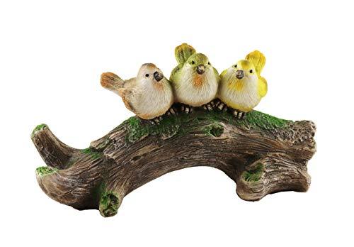 Klp 3 Vögel auf AST Baum Skulptur Paar Deko Spatz Vogel Gruppe Oster Figur Statue -