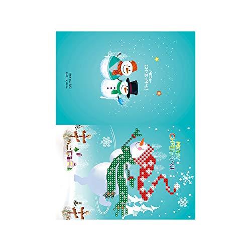 YUnnuopromi Teilweise Runde Diamant-Gemälde, Weihnachtsmann, DIY Grußkarten für den Urlaub (Diy Einladung Kits)