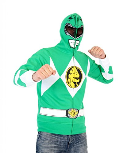 Power Rangers I Am Grün Ranger Erwachsene Full Zip Kostüm Hoodie (Medium)