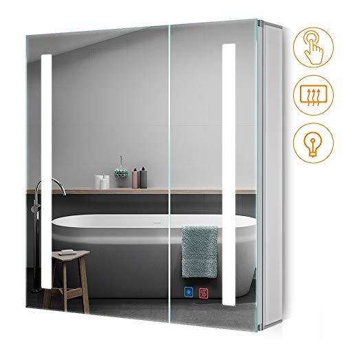 teter Badezimmer Spiegelschrank mit Dimmbarem Rechteckigem Licht und Demister-Pad Badspiegelschrank mit verstellbaren Ablagen 650 x 630mm Berührung Sensorschalter ()