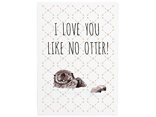 42x30cm Shabby Holzschild I LOVE YOU LIKE NO OTTER Liebe Partner Beziehung