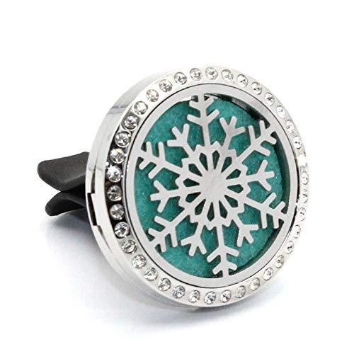 Diffusore di Olio per Auto diamantato in Acciaio Inox Deodorante Naturale Clip da 4 Piedi per Prese d'Aria con 10 feltrini [Due Set]