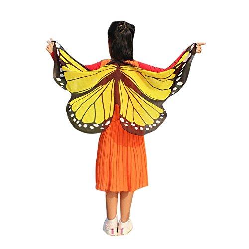YWLINK Chiffon Klassisch Jungen MäDchen Karneval Bohemien Schmetterling Print Schal Cosplay ZubehöR Erwachsener Eltern Kind Weihnachten Halloween FlüGel Umhang Pashmina (118 * 48CM,C Gelb)