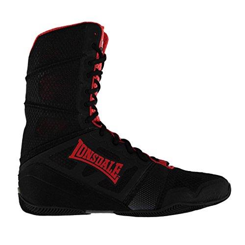 Lonsdale Herren Cruiser Hi Boxstiefel Boxen Stiefel Schuhe Boxschuhe Sportschuhe Schwarz/Rot