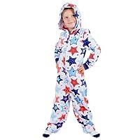 Roaster Toaster Boys Star Print Hooded Fleece All in One Pyjamas PJs Sleepsuit Onesie 8-9 Years