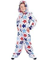 Boys Hooded Fleece All In One Piece Pyjamas Jump Sleep Suit Onesie PJs Nightwear